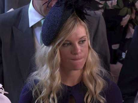 Chelsy Davy appeared emotional at times watching ex-boyfriend of seven years Prince Harry marry Meghan Markle at the royal wedding. Picture: Supplied