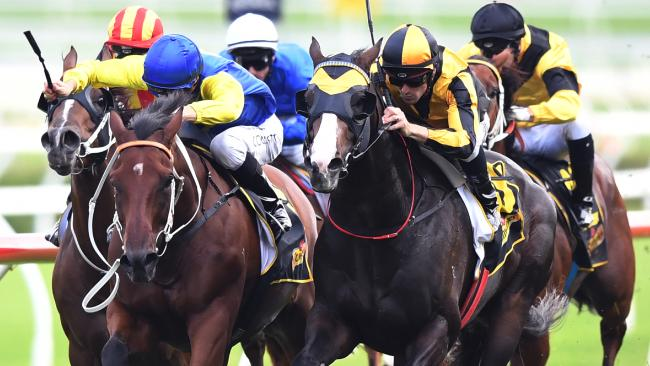Trapeze Artist ridden by Tye England (2nd right) in the closing stages before winning the Schweppes All Aged Stakes.