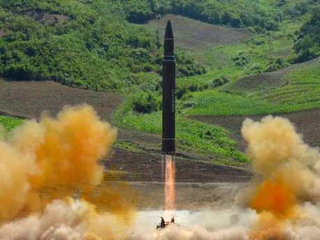 This photo distributed by the North Korean government shows what was said to be the launch of a Hwasong-14 intercontinental ballistic missile. Picture: Korean Central News Agency/Korea News Service via AP