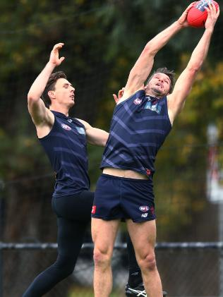 Former Crow Jake Lever attempts to spoil Melbourne teammate Jesse Hogan at Demons training this week. Picture: Michael Dodge/Getty Images