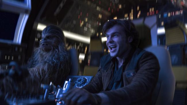Alden Ehrenreich (right) stars as Han Solo and Joonas Suotamo (left) as Chewbacca in Solo: A Star Wars Story.