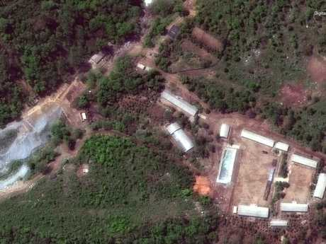 Satellite image provided by DigitalGlobe shows the Punggye-ri test site in North Korea. Picture: DigitalGlobe via AP
