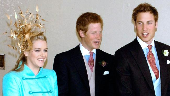 Prince William and Prince Harry with their stepsister Laura in 2005. Picture: Corbis/Corbis via Getty Images