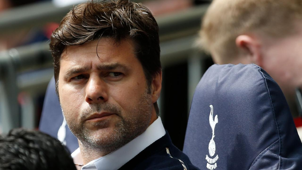 Tottenham Hotspur manager Mauricio Pochettino awaits kick off in the English Premier League match against Leicester City.