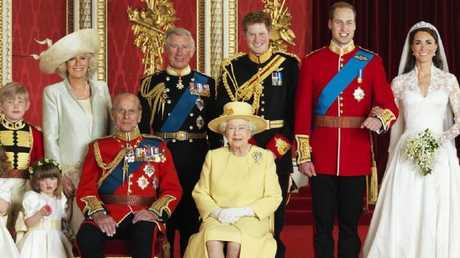 Please note the pink worm in Eliza's hand (far left). Picture: AFP Photo/Hugo Burnand/Clarence House