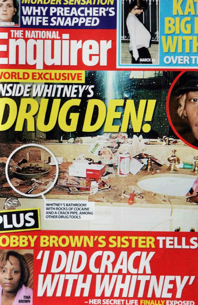 The infamous photo of Whitney's bathroom was splashed across magazine covers.