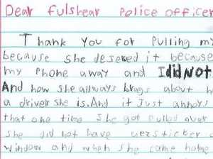 Boy's hilarious note to police officer