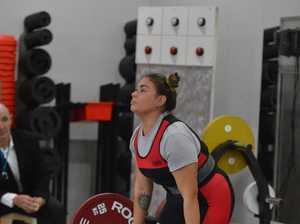 Gympie power lifter Chantelle Shepard dead lifting.