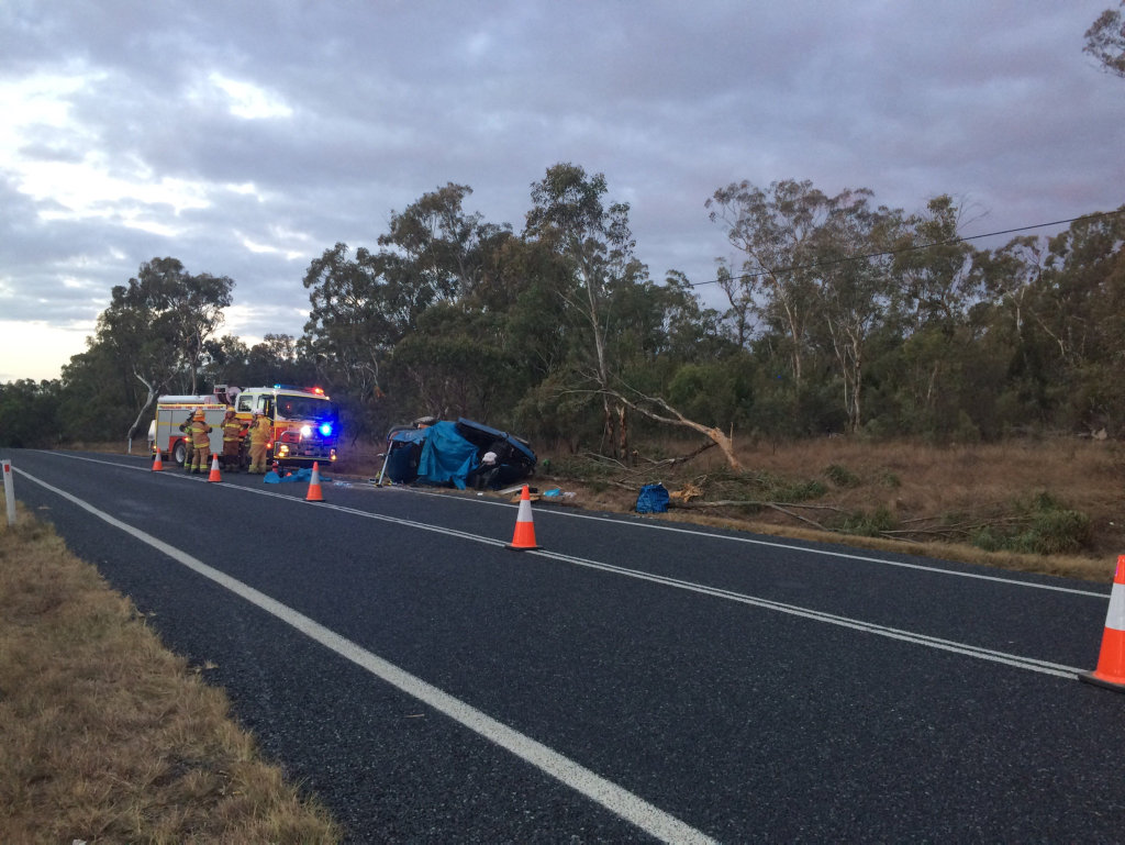 Shots from single-vehicle rollover at Glen Aplin, south of Stanthorpe.