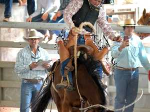Saddle Bronc action at the Nebo Rodeo on Saturday