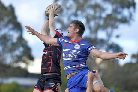 A UQ Gatton rival wins a line-out grab from USQ's Andre van Staden in today's round-eight Risdon Cup match at USQ Rugby Oval.