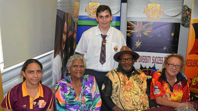 FROM LEFT: Year 10 student Jasinta Willis, Aunty Ada Simpson, indigenous student ambassador Kael Ruthven, Uncle Robert Bond and Aunty Daveena Lawlor.