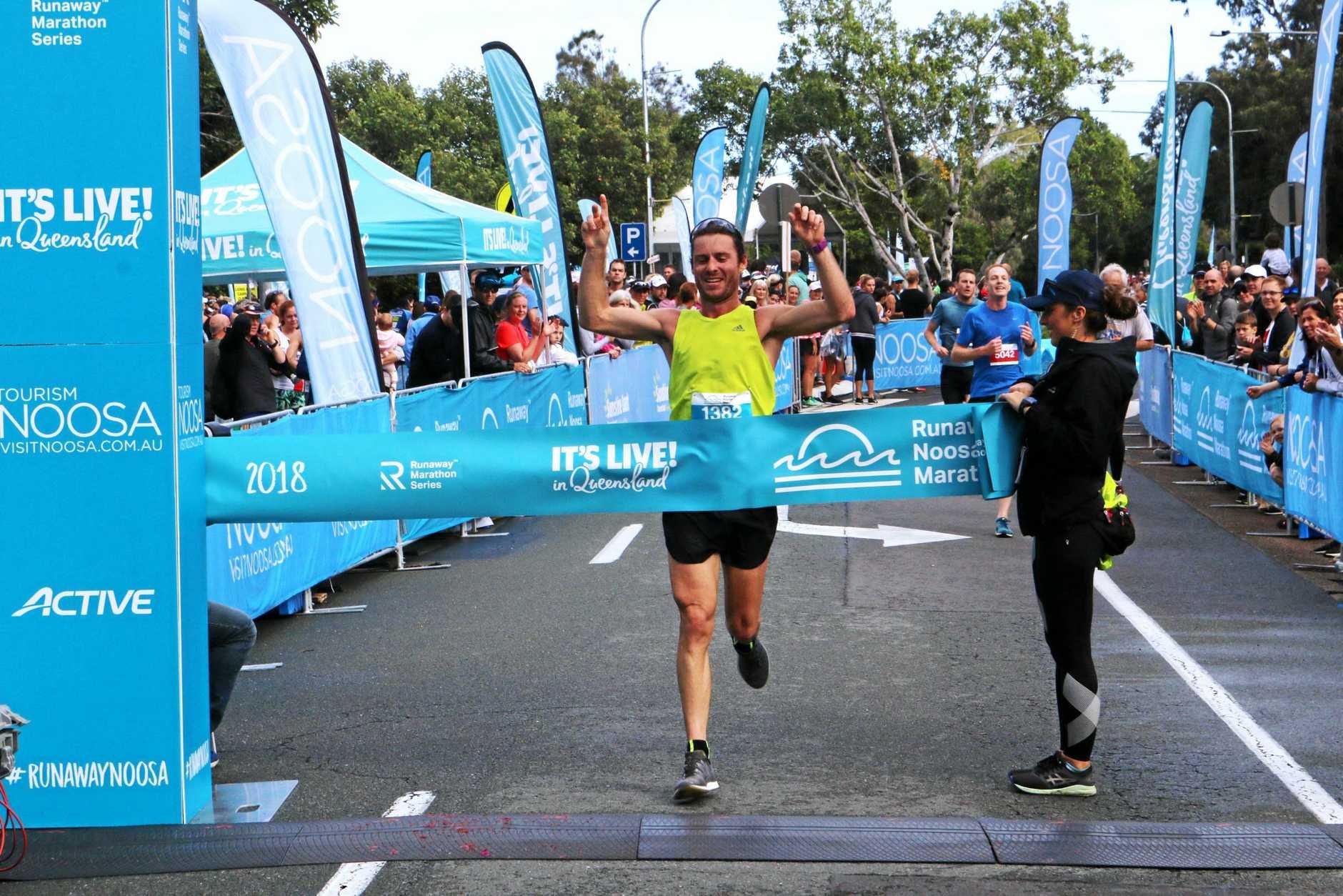 Brendan Cato won the  inaugural Runaway Noosa Marathon on Saturday.