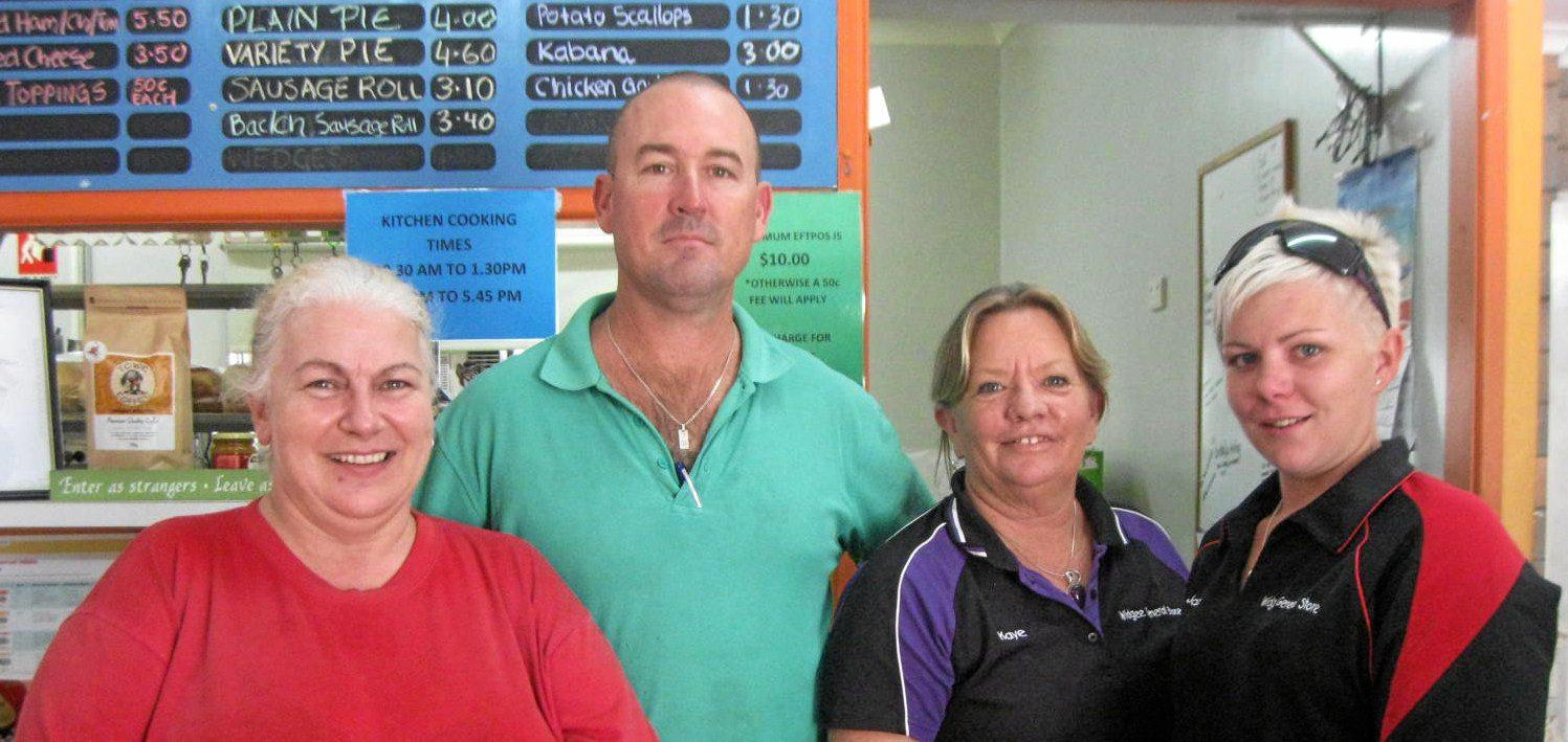 Widgee General Store's new owners Karen and Peter Alexander (left) with Kaye and Jasmine Godbee.