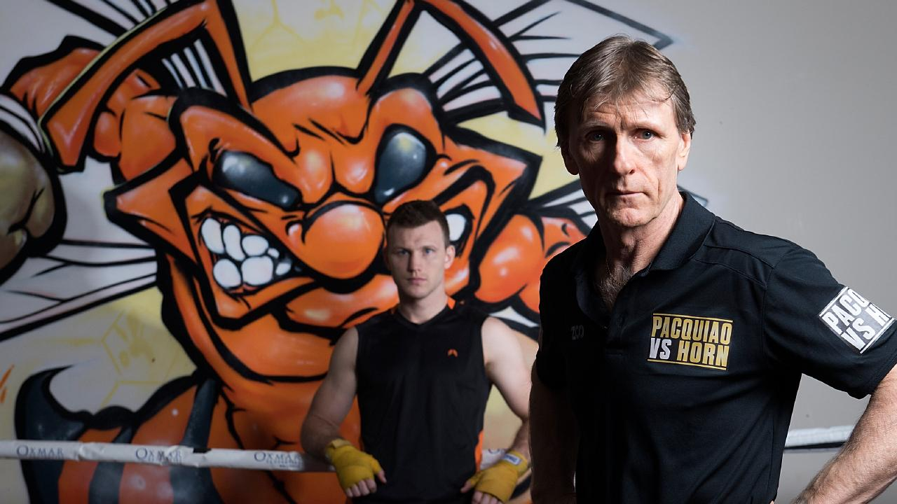 Trainer Glenn Rushton and boxer Jeff Horn at the Stretton Boxing Club in Brisbane.