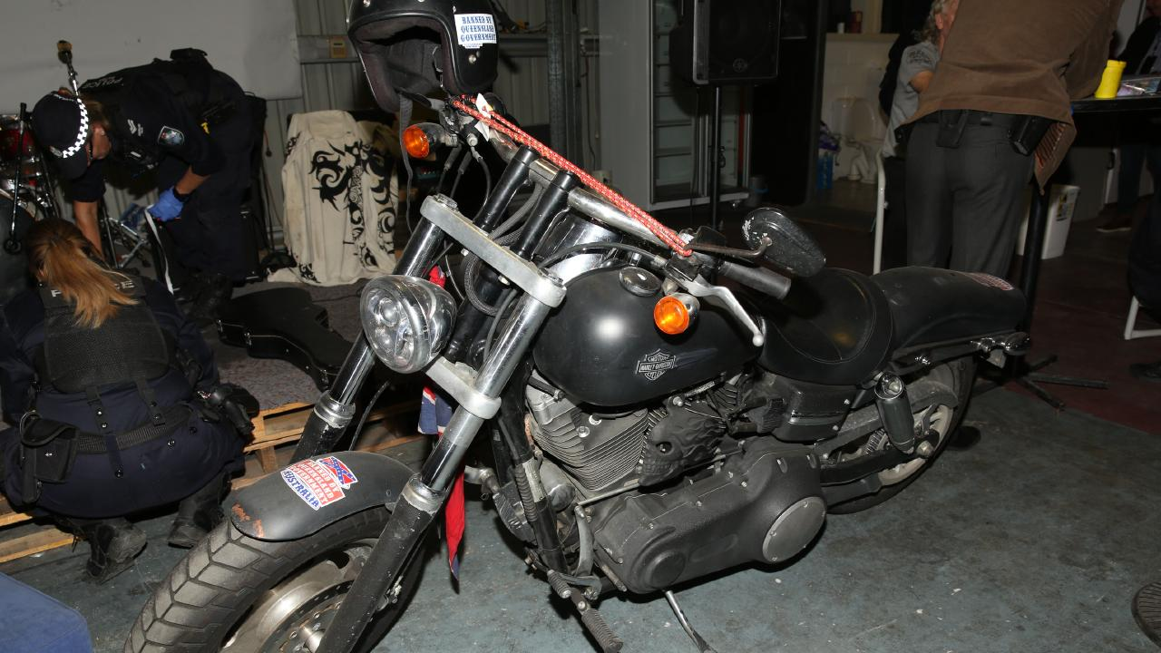 A motorcycle found inside the clubhouse.