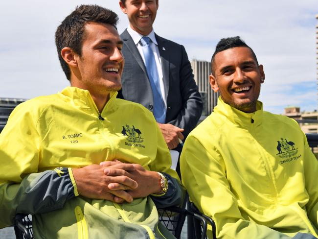 Better times: Tomic (L) and Kyrgios in their Davis Cup days.