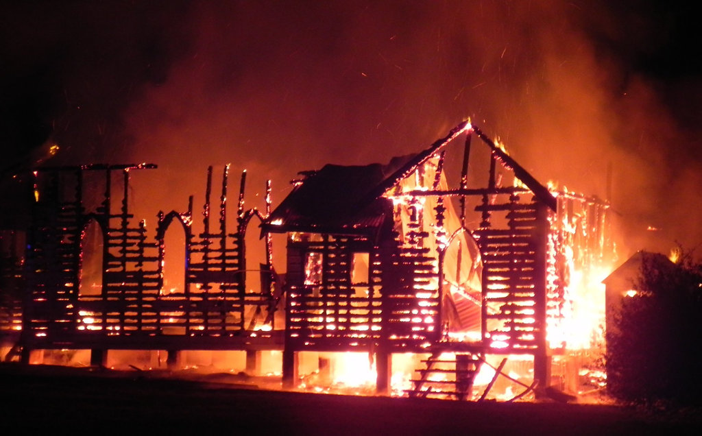 Firefighters battle a blaze that destroyed the Glenreagh Catholic Church early Sunday morning.