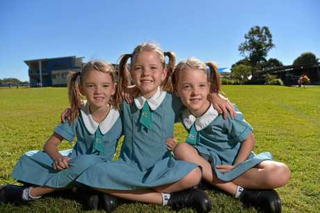 Pacific Lutheran College's McFadden triplets: Tara, Georgia and Macey are ready for class photos.