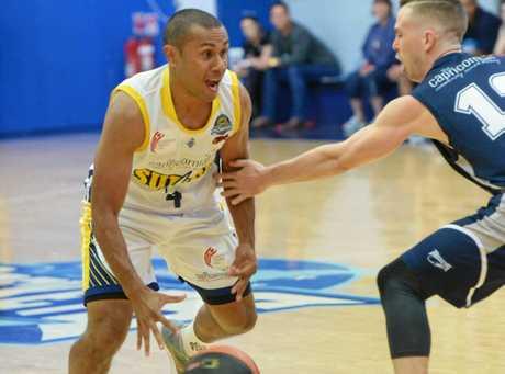 Jordan Lumkon gets the ball moving Gladstone Port City's way.