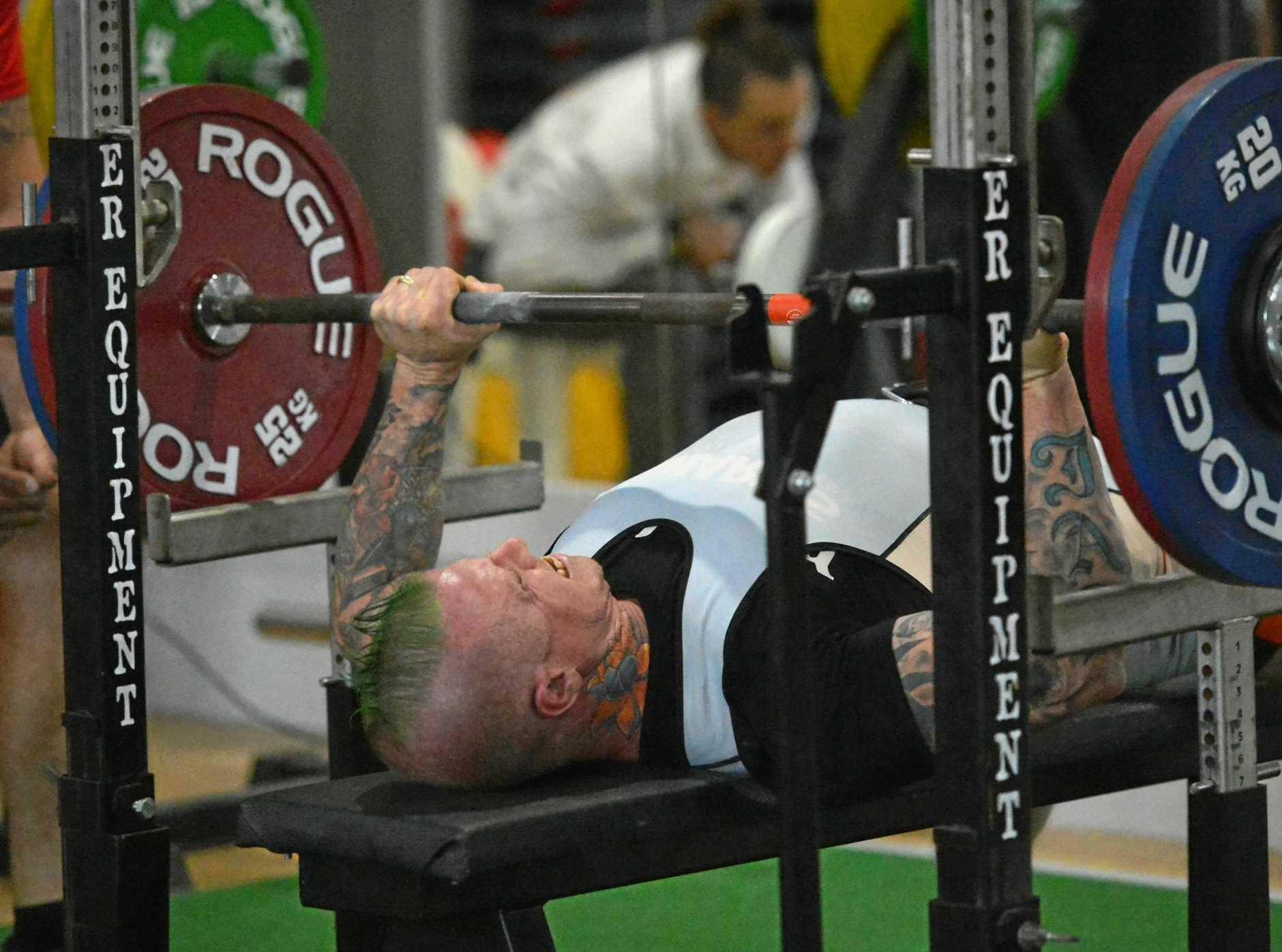 Gympie power lifter Nigel Daniel in action in the bench press.