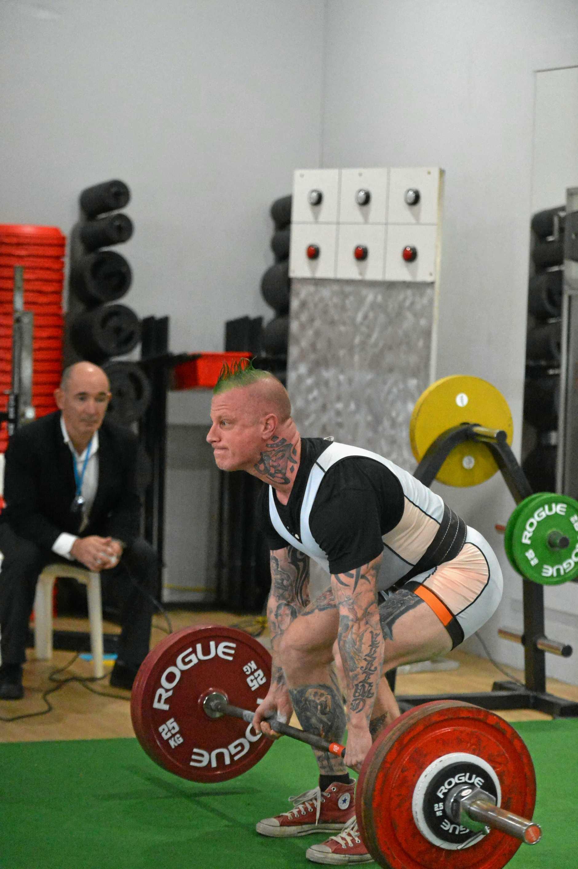 Gympie power lifter Nigel Daniel in action in the deadlift.