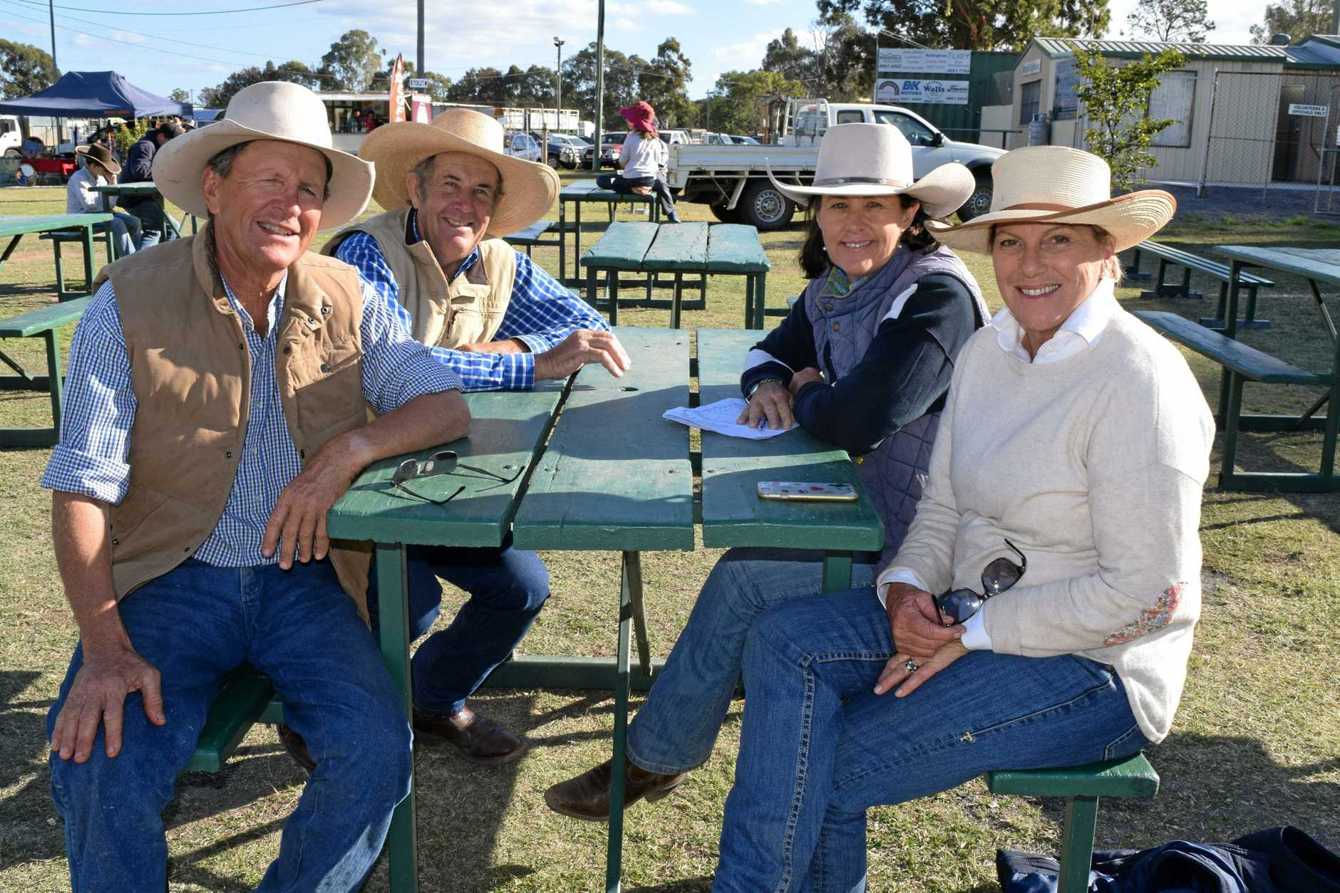 (From left) Terry Hanigan, Roger Boshammer, Tam Law and Robyn Hanigan at the Campdraft Super Series at Warwick Showgrounds.