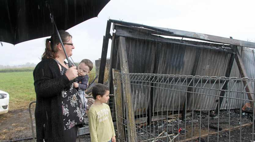 HOUSE FIRE HEROINE: Despite swirling smoke and no lights, Coraki mother Katherine Mabwood managed to locate her two young children and escape their home which burned to the ground,