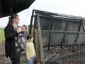 Mum's desperate search for children as house burnt down
