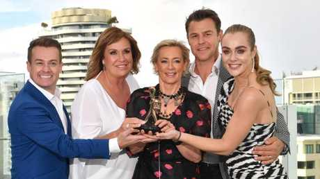 Gold Logie nominees Grant Denyer, Tracy Grimshaw, Amanda Keller, Rodger Corser and Jessica Marais. (AAP Image/Darren England)
