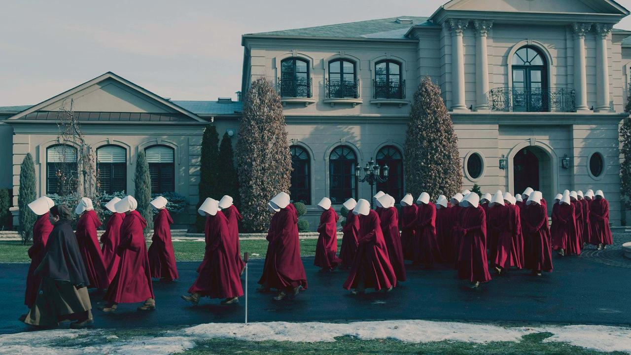 "Fertile women are subjugated and distributed among the families of the rich and powerful in ""The Handmaid's Tale""."