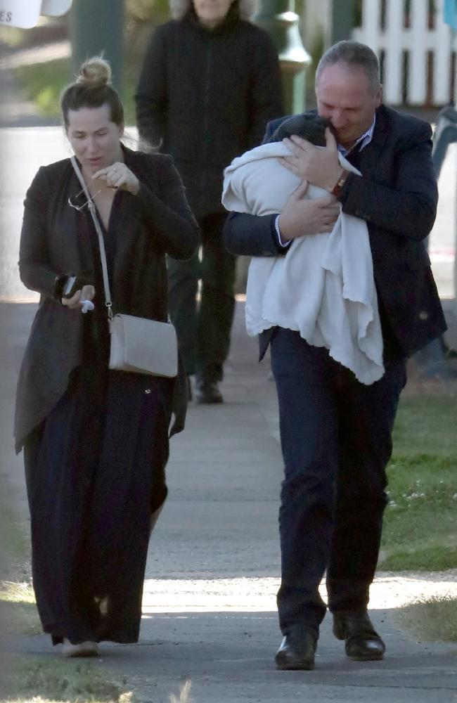 Barnaby Joyce and Vikki Campion take baby Sebastian for a walk. Picture: DIIMEX