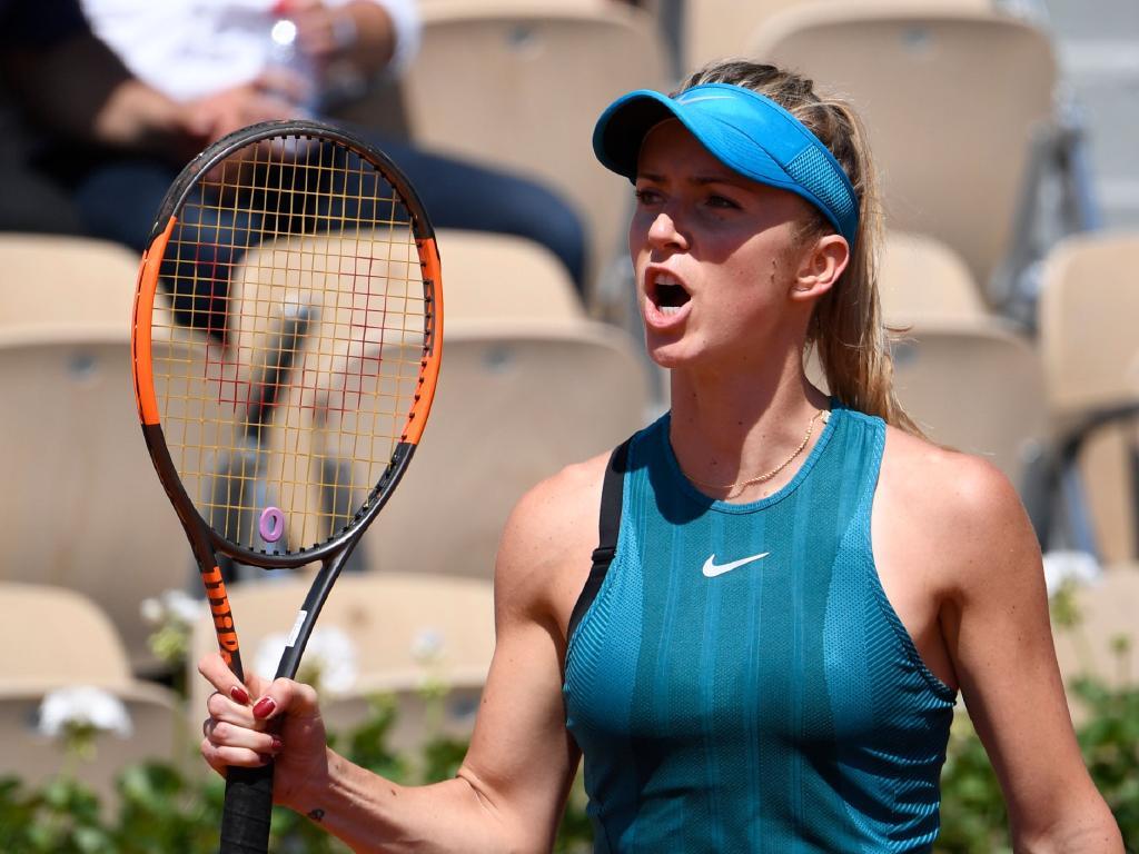 Ukraine's Elina Svitolina celebrates her victory.