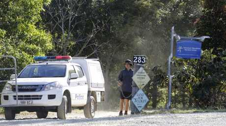 Police leaving Adventure Alternatives Education Centre after the high ropes incident.  Picture: AAP/ Megan Slade
