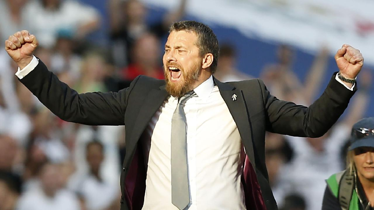Fulham's Serbian manager Slavisa Jokanovic celebrates on the final whistle