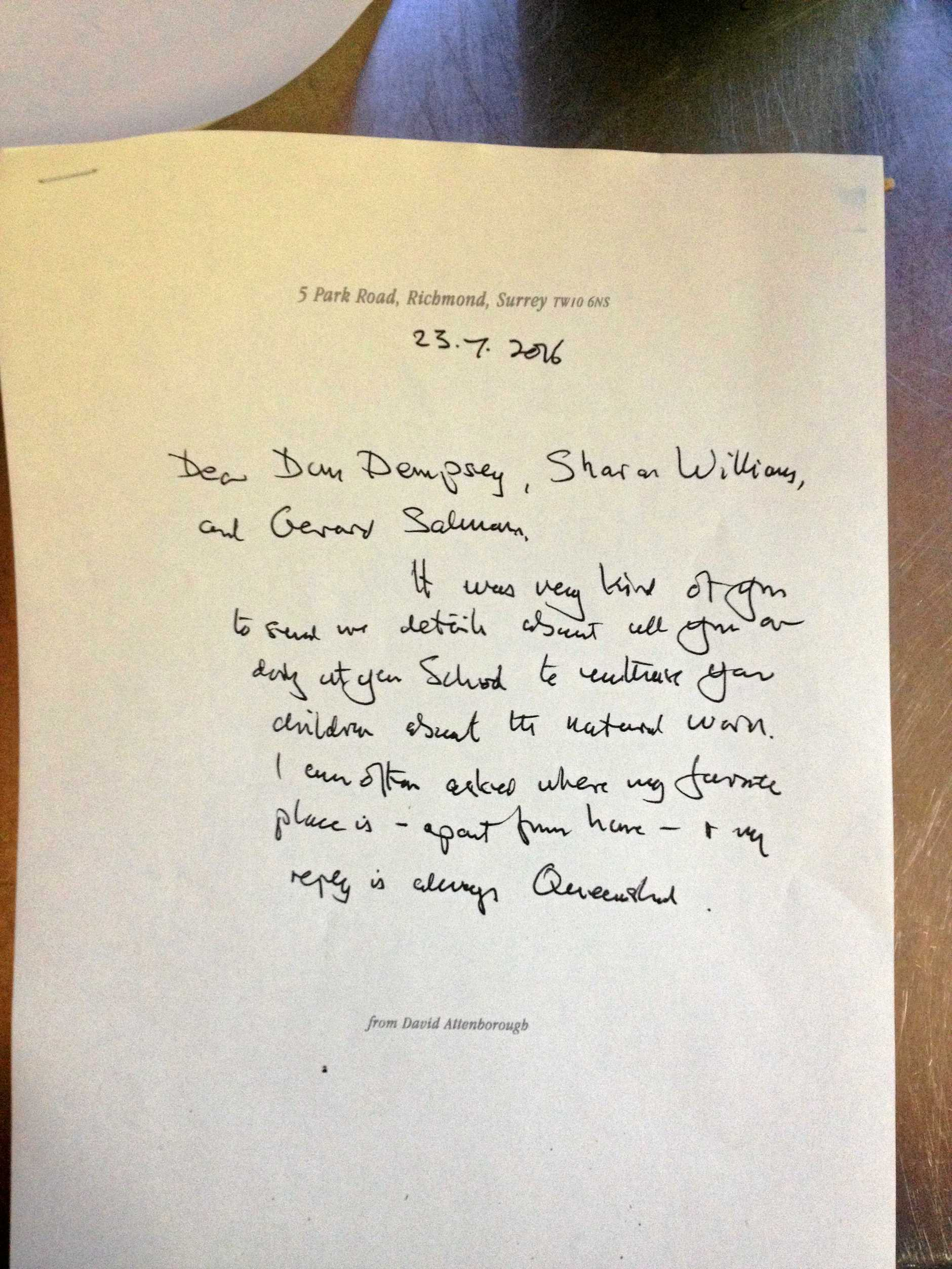 Sir David Attenborough wrote a hand-written letter to Goodna State School.