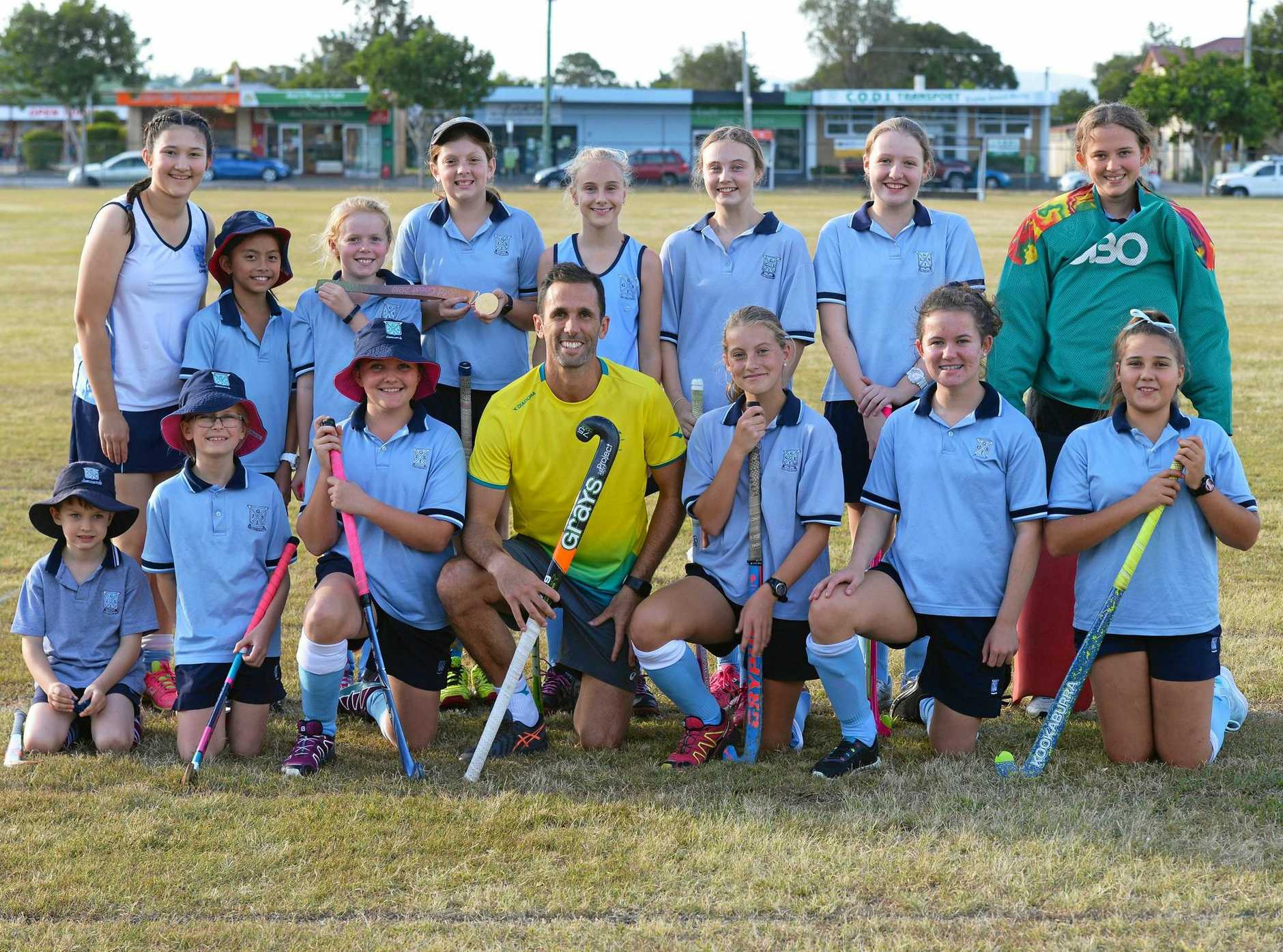 Former Australian hockey captain Mark Knowles was a popular visitor during coaching sessions with Ipswich Girls' Grammar School students.