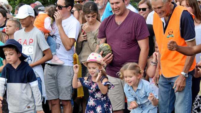 The Great Australian Pumpkin Roll at the Goomeri Pumpkin Festival.
