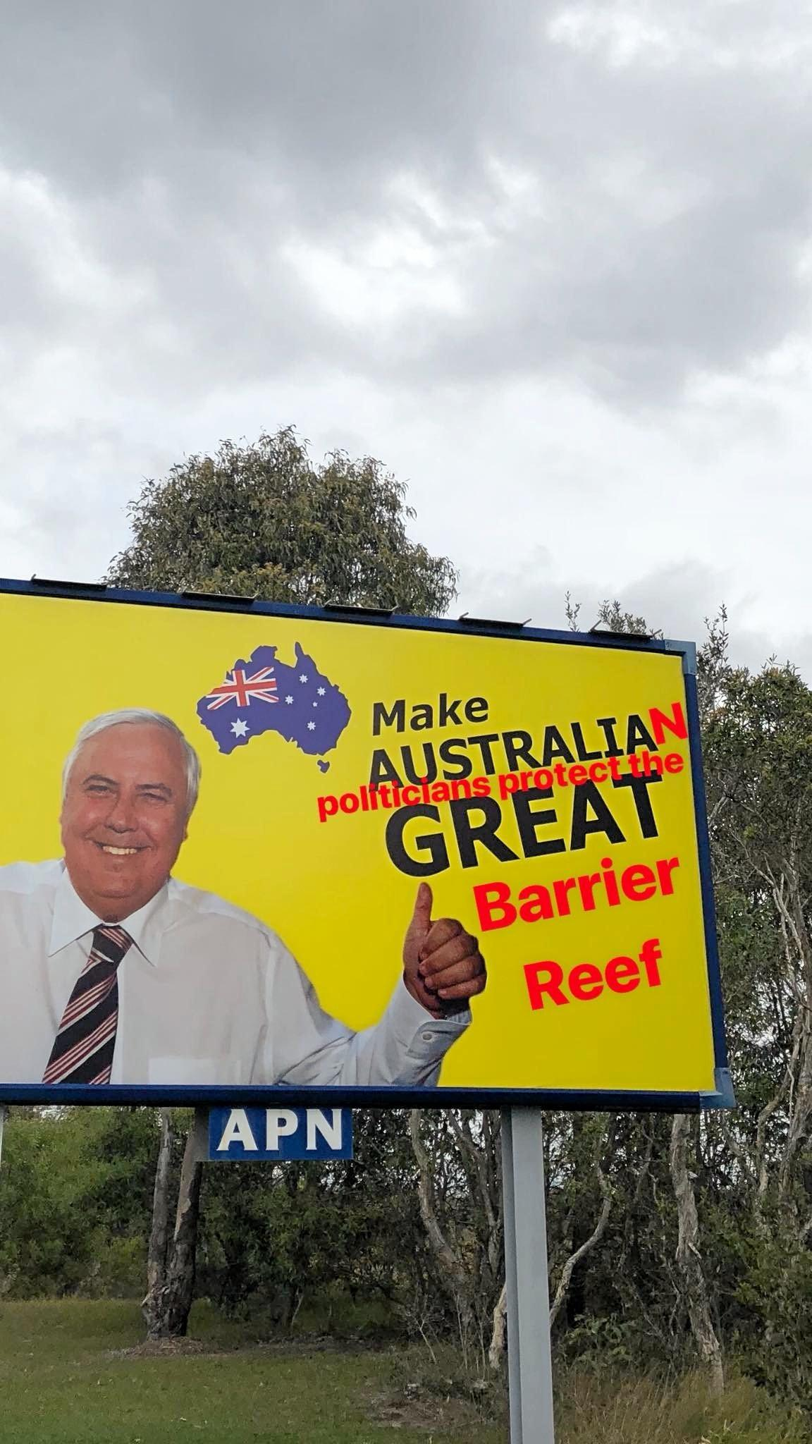 CLEVER photo-shopped re-messaging of Clive Palmer's 'Make Australia Great' billboards that began appearing around Australia last week, have been a quick hit on social media.