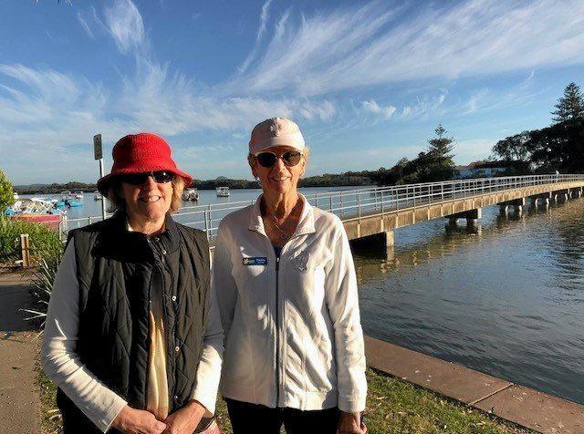 GOING FOR A WALK: Carol Jones and volunteer Pauline Lawrence.