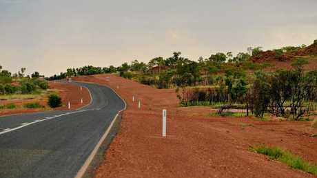 The Stuart Highway, just before entering the township of Tennant Creek on the northern side.