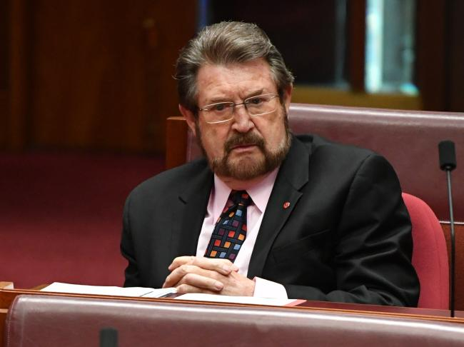 Senator Derryn Hinch has grilled Senator Hanson over her reasons for withdrawing support for the tax cuts. Picture: AAP
