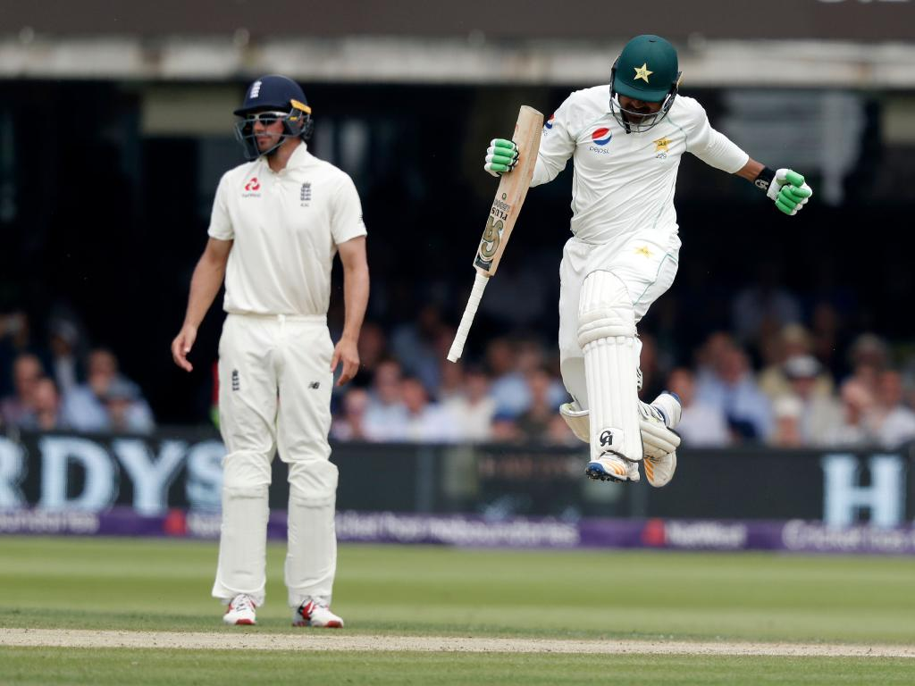 Pakistan's Haris Sohail jumps in the air after hitting the winning runs.