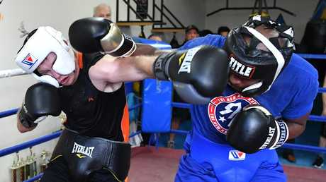 Jeff Horn (left) held a torrid sparring session against American fighter Ray Robinson on May 17, 2018.