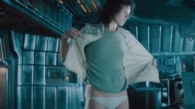 "Sigourney Weaver undresses in a scene from the 1979 sci-fi film 'Alien'. Current Alien's director James Cameron said he felt that scene ""stepped over the line""."