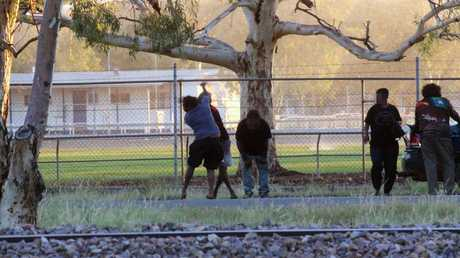 A woman brawls with a man in Alice Springs. Picture: Gary Ramage/News Corp Australia