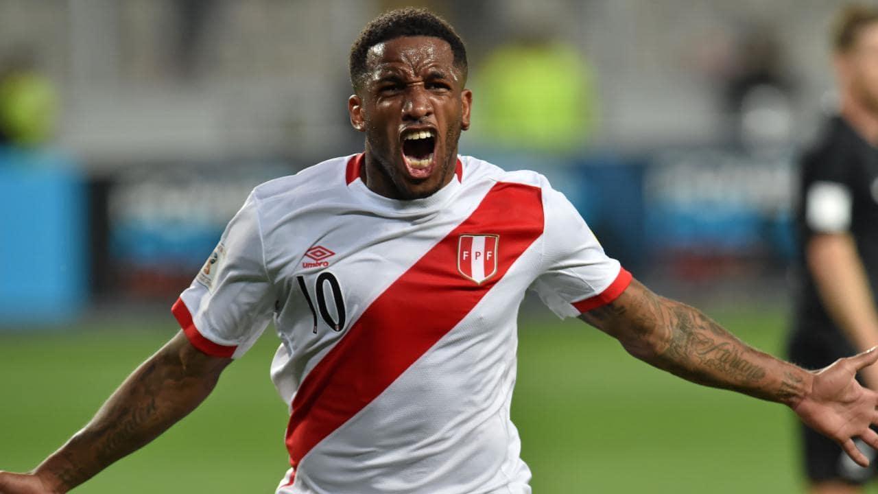 Peru striker Jefferson Farfan celebrates scoring against New Zealand.