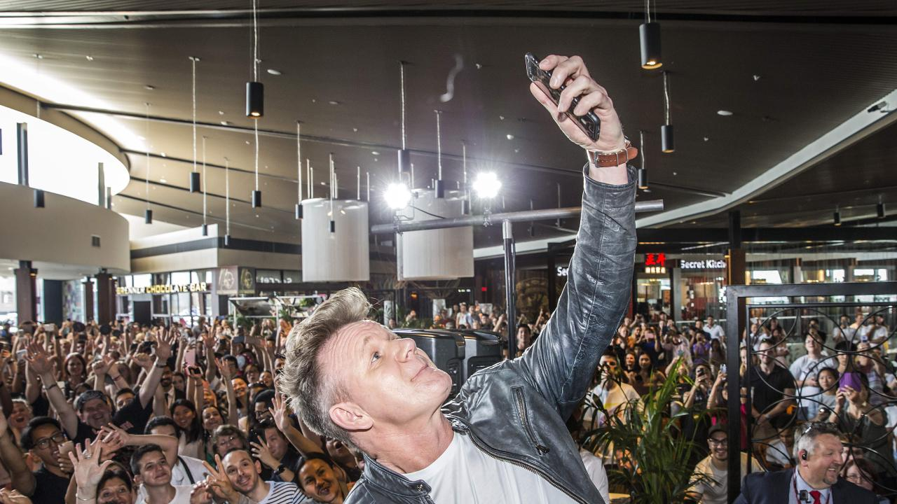 Gordon Ramsey takes a selfie at Westfield Doncaster of him and his huge hair. Picture: Sarah Matray