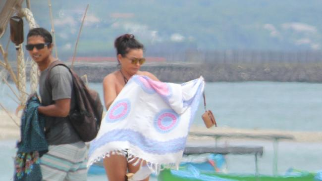 Schapelle Corby with her boyfriend Ben sunbathing in Bali in 2017. Picture: Supplied