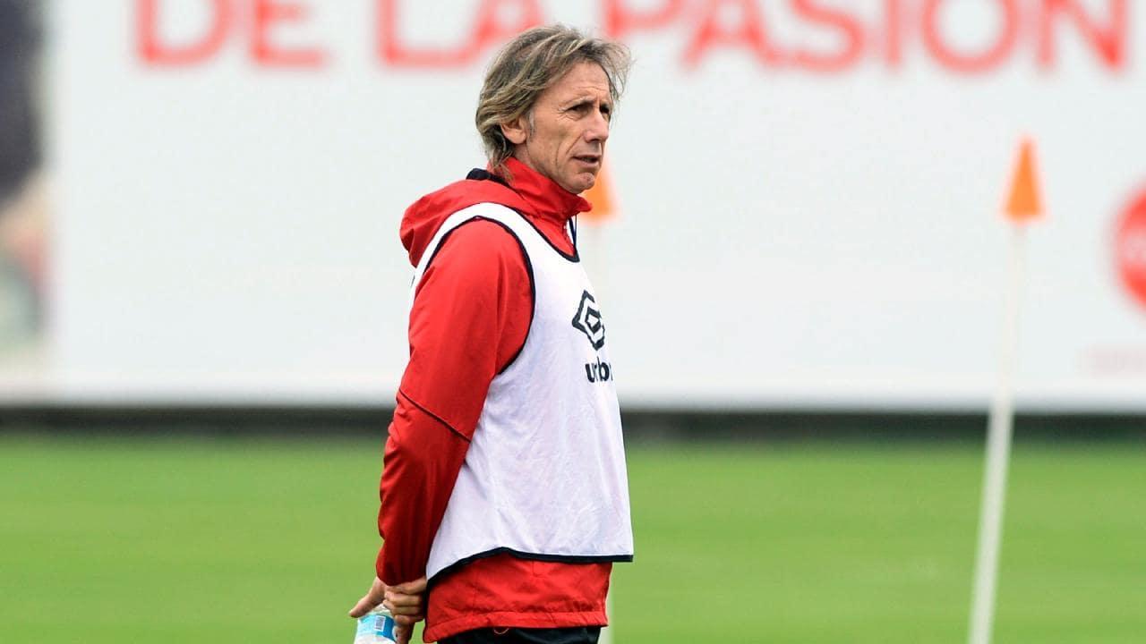 Peru coach Ricardo Gareca at team training in Lima.